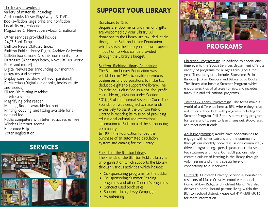 Programs & Services | Bluffton Public Library