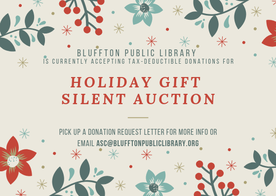 Holiday gift silent auction flyer bluffton public library for Silent auction catalog template